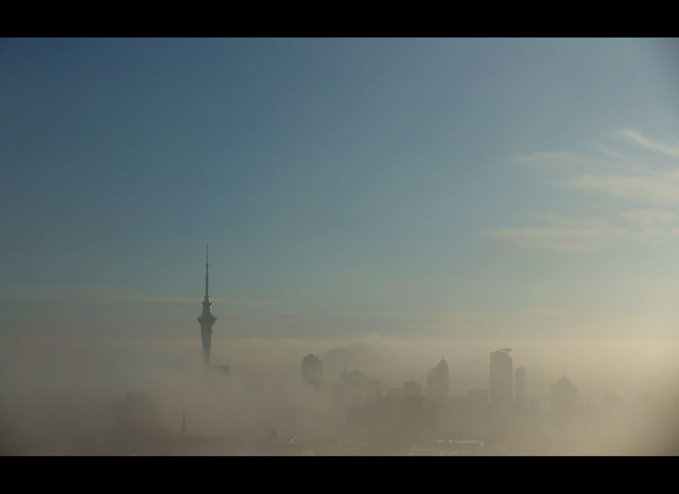 Morning fog shrouds Auckland city on July 6, 2012 in Auckland, New Zealand. Fog in Auckland has caused disruption to flights