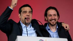 Tsipras comizio ad Atene, l'abbraccio con il leader di