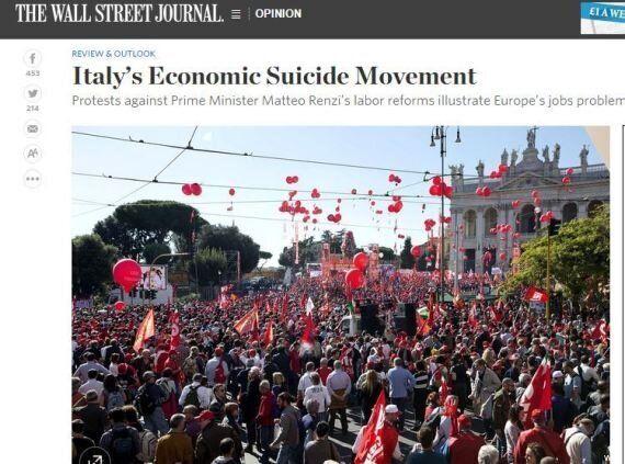 Wall Street Journal: Matteo Renzi tenga duro sulle riforme. La Cgil? È il movimento per il suicidio economico