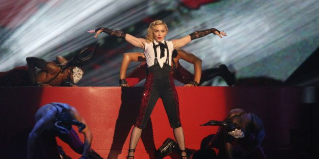Madonna performs onstage at the Brit Awards 2015 at the 02 Arena in London, Wednesday, Feb. 25, 2015....