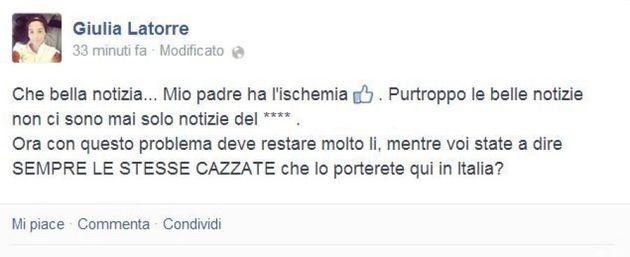La figlia del marò Massimiliano Latorre, Giulia:
