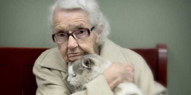 La foto della 102enne Iona assieme al gatto abbandonato Edward. Il tenero momento catturato da Barbara