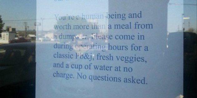 Ashley Jiron, titolare di un fast food, scrive un messaggio a chi rovista nella spazzatura del suo locale:...