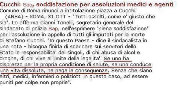 Stefano Cucchi, il Sap: