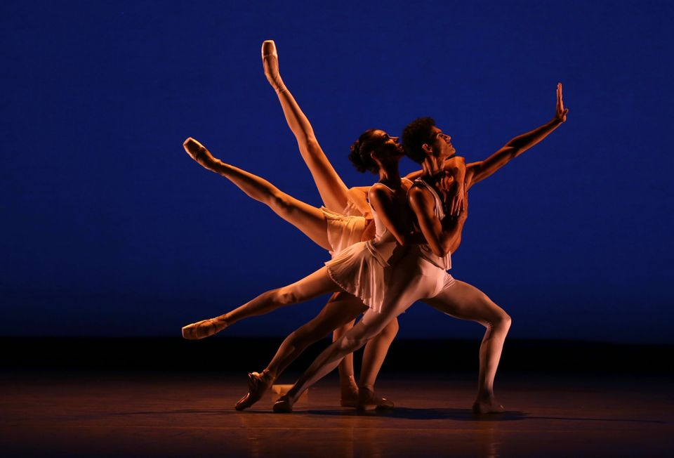 Renan Cerdeiro, right, dances during a dress rehearsal for the Miami City Ballet's performance of Apollo, Thursday, Oct. 18,