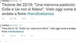Dopo l'ok Ue alla manovra il portavoce di Renzi pubblica su Twitter tutti i titoli