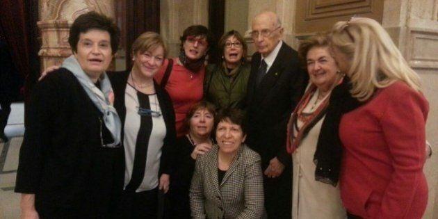 Qurinale, tutte le donne di Napolitano. Foto di gruppo per l'ex presidente, poi il colloqui con Boldrini...