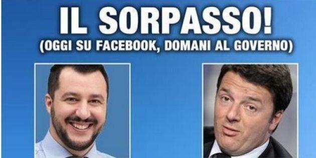 Matteo Salvini ha più fan su Facebook di Matteo Renzi. L'urlo della vittoria: