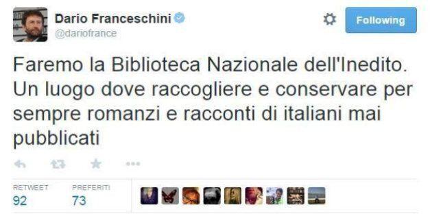 Dario Franceschini propone la Biblioteca dell'Inedito per i libri mai pubblicati. Ma su twitter viene