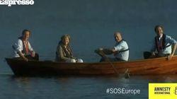Merkel e Cameron in barca