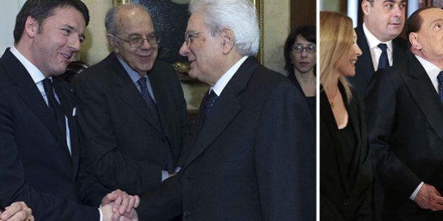 Sergio Mattarella giuramento: il siparietto birichino di Renzi e Berlusconi. Barzellette e gaffe per...