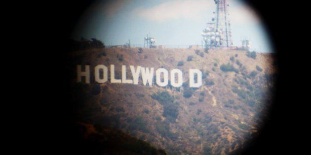 Hollywood sign taken from a tourist viewing scope or
