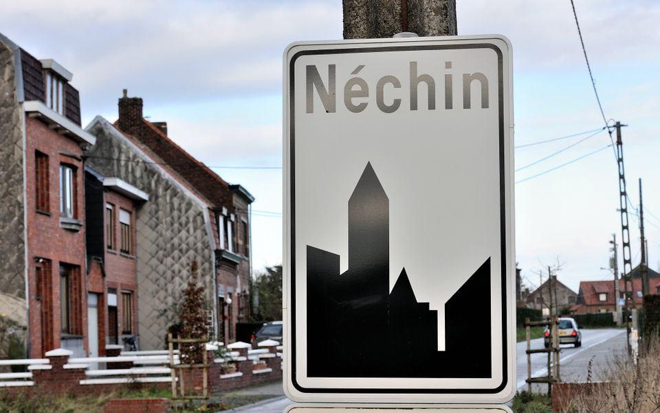 Picture taken on December 10, 2012 of the entrance of Nechin, a Belgium village close to the French border where France's bes