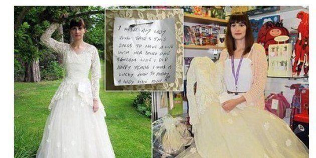 Dona il vestito da sposa della moglie defunta e lascia un biglietto:
