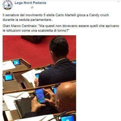 Senatore M5S gioca a Candy Crush, Lega Nord: