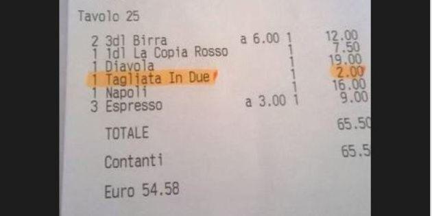 Pizza, tagliarla in due a Lugano costa 2 franchi. Lo scontrino pubblicato su twitter dal giornalista...