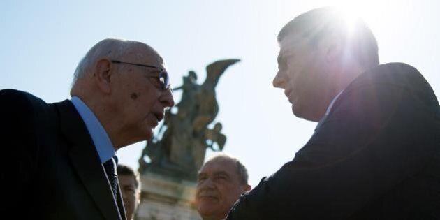Jobs Act. Giorgio Napolitano con Matteo Renzi e in linea con Draghi. Ma il premier mette in conto le