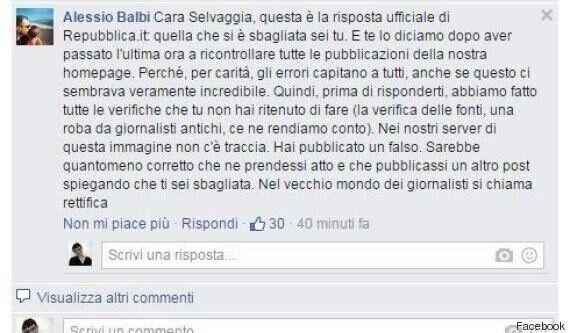 Selvaggia Lucarelli pubblica su Facebook un falso su Rep.it. Poi lo cancella, non chiede scusa e si difende