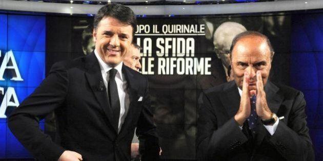 Matteo Renzi presenta il libro di Vespa, dalla rottamazione al Gattopardo. Padoan gli tira le orecchie...