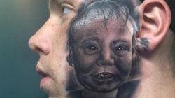 E voi vi tatuereste il viso di vostro figlio in