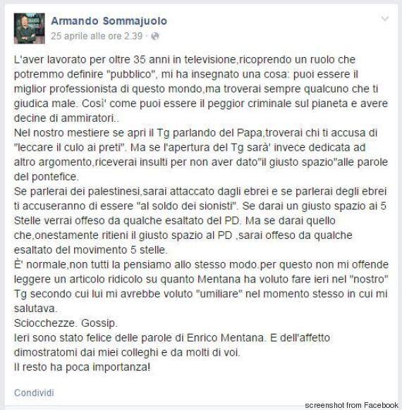 Armando Sommajuolo sfogo e addio al tg La7 in diretta:
