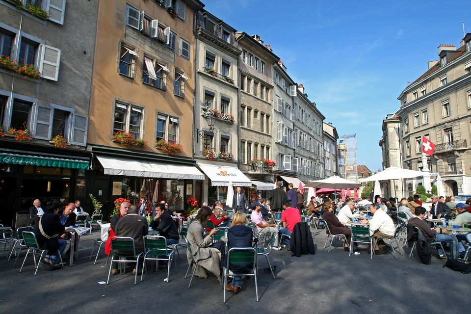Cafe culture in the old town of Geneva, Switzerland on October 17, 2007 in Geneva, Switzerland. (Mike Hewitt/Getty Images)