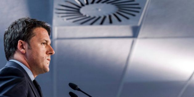 Italian Prime Minister Matteo Renzi speaks during a media conference after an emergency EU summit at...