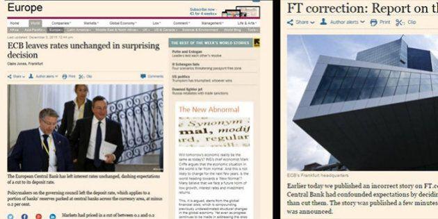 Financial Times pubblica una notizia per errore prima della decisione sui tassi. Poi l'articolo di