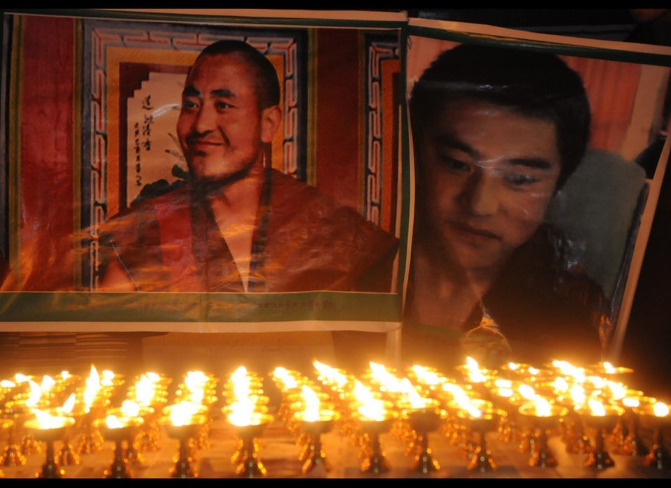 Portraits of Jamyang Palden (L), in his thirties from Rebkong and Lobsang Tsultrim, 20, from Ngaba, both from Tibet's Amdo re