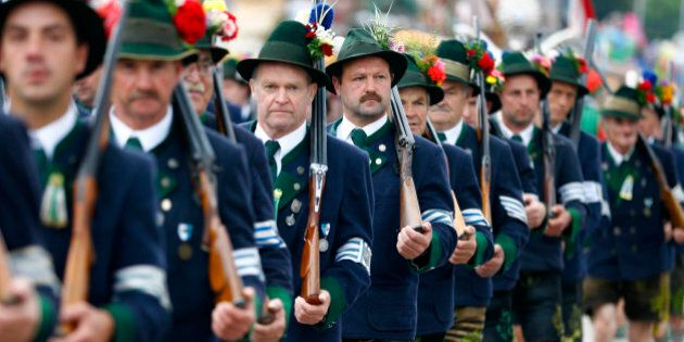 People participate in the traditional costume and riflemen's parade on the second day of the 182. Oktoberfest...