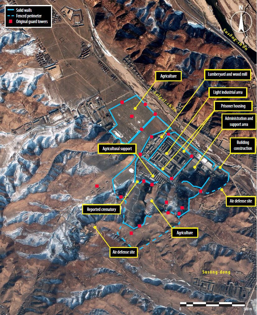 CAMP 25, SUSONG-DONG, NORTH KOREA-JANUARY 18, 2003:  This is a satellite image of the perimeter and stratgically placed guard