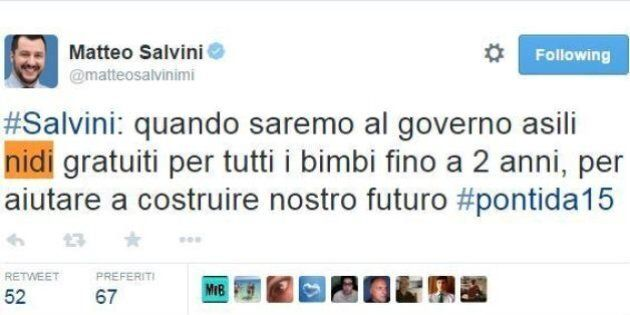 Matteo Salvini, l'errore da matita blu su Twitter:
