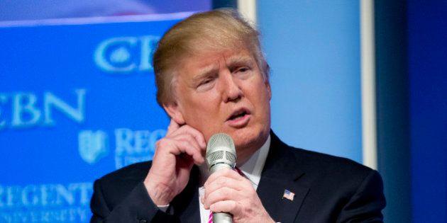 Republican presidential candidate Donald Trump speaks at Regent University in Virginia Beach, Va., Wednesday,...