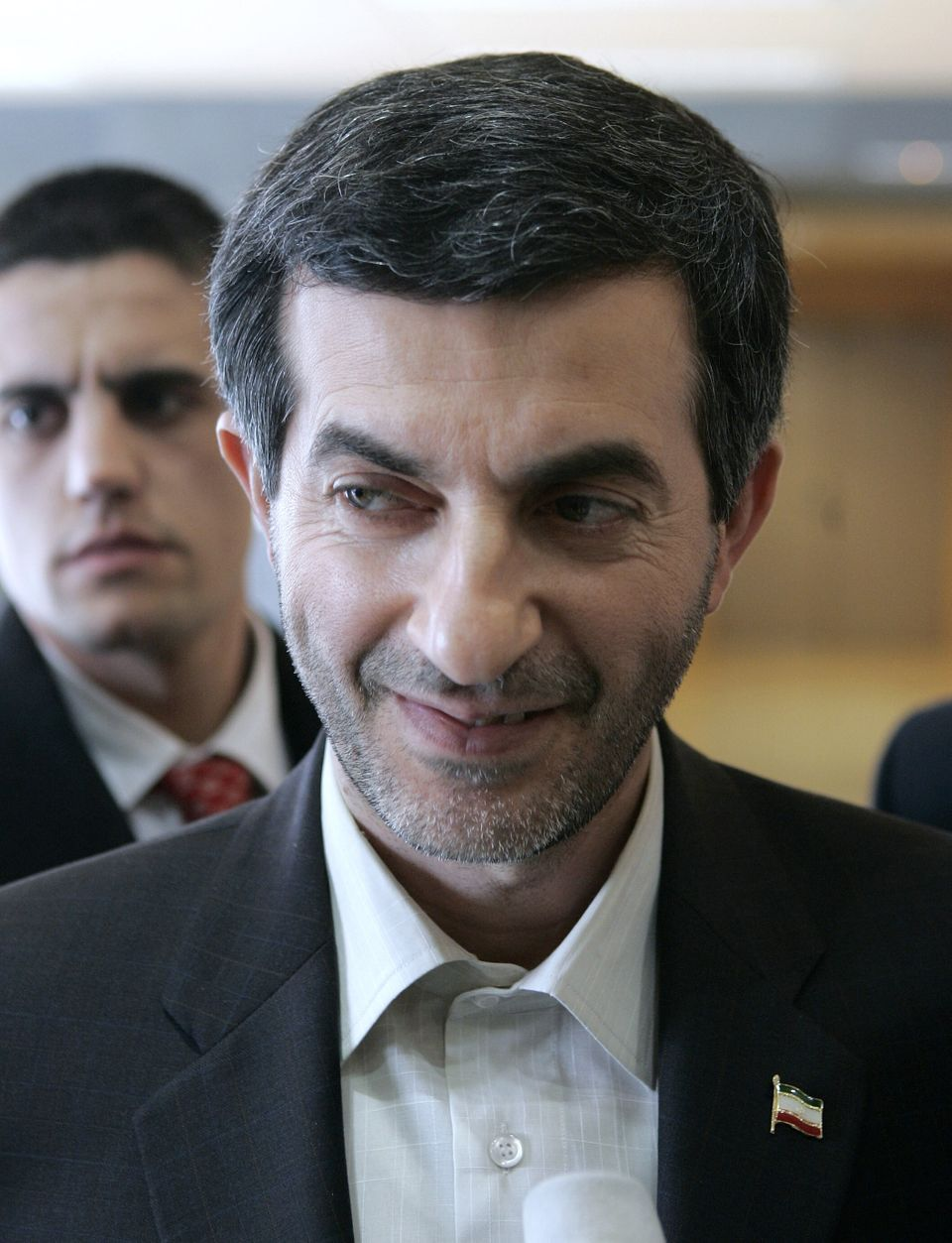 The Iranian vice-president Rahim Mashaei talks to reporters after leaving a private meeting with Spain's foreign minister Mig