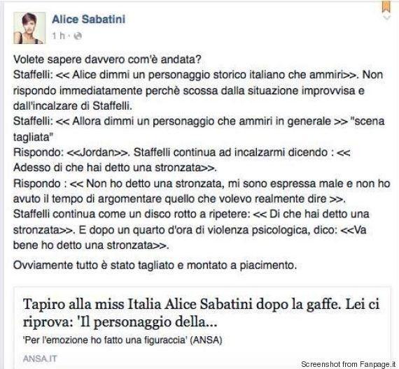 Miss Italia 2015 Alice Sabatini, la gaffe a Striscia la notizia?