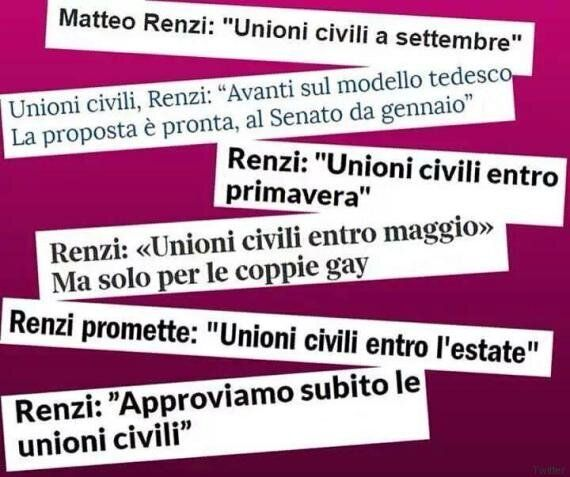 Unioni Civili, i 100 annunci di Matteo Renzi: