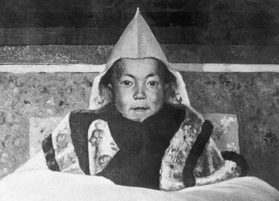 This undated picture shows a painting by Kanwal Krishna dated probably in 1930s of a young Dalai Lama (Tenzin Gyatso, born in