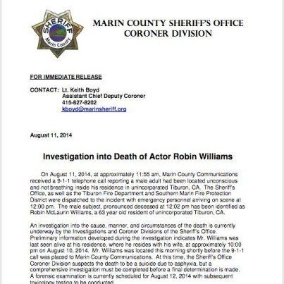 Robin Williams morto, apparente suicidio. L'attore aveva 63