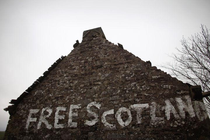 GREENLOANING, SCOTLAND - JANUARY 10:  Graffiti stating 'Free Scotland' is written on the gable end wall of a derelict cottage