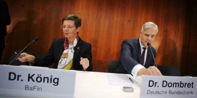 President of the Federal Financial Supervisory Authority (BaFin), Elke Koenig, left, and board member...