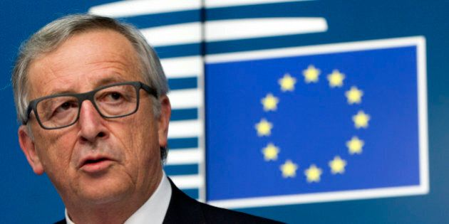European Commission President Jean-Claude Juncker speaks during a media conference after an emergency...