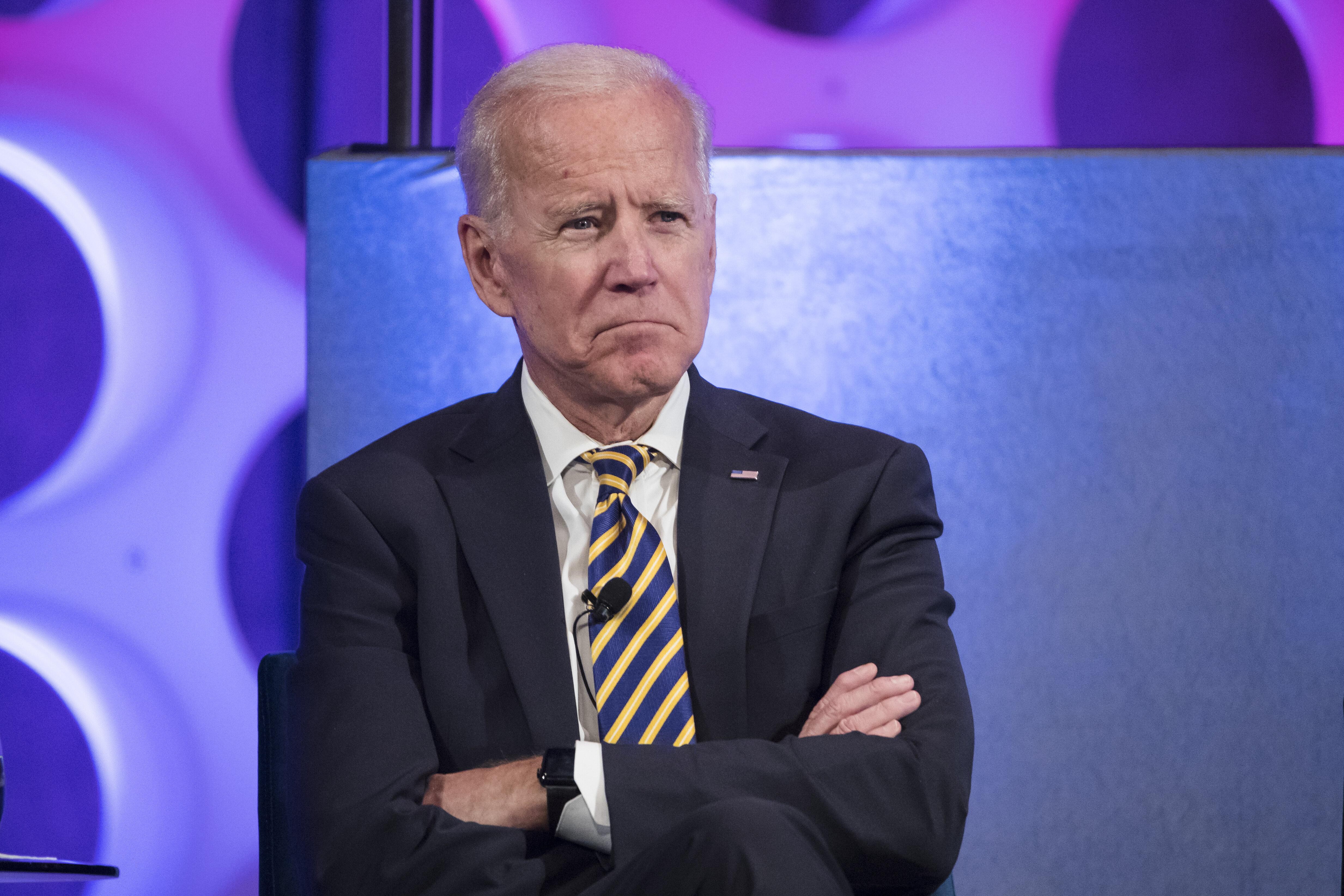 Former Vice President Joe Biden takes part in a forum on the opioid epidemic, at the University of Pennsylvania in Philadelphia, Thursday, April 11, 2019. (AP Photo/Matt Rourke)