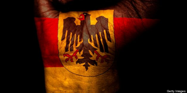 A clenched fist with the flag of Germany (Eagle Version) on it
