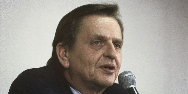 Olof Palme special U.N envoy to the Middle East; leader of Sweden?s Social Democratic Party speaking...