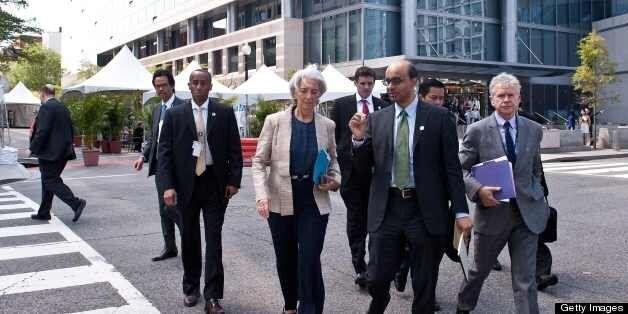 International Monetary Fund (IMF) Managing Director Christine Lagarde (C, L) and International Monetary and Financial Committ