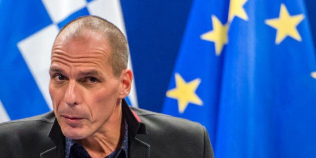 Greece's Finance Minister Yanis Varoufakis addresses the media after a meeting of Eurogroup finance ministers...