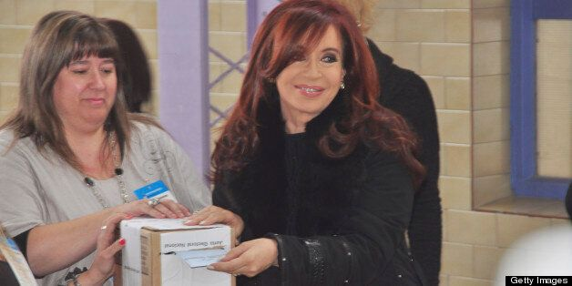 RIO GALLEGOS, ARGENTINA - OCTOBER 23: President Cristina Fernandez votes for president during the Presidential elections 2011