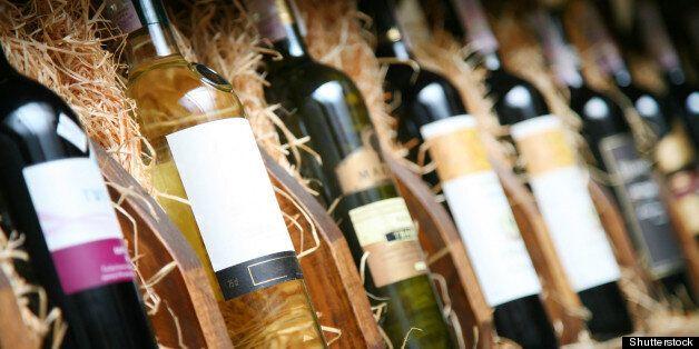 closeup shot of wineshelf....