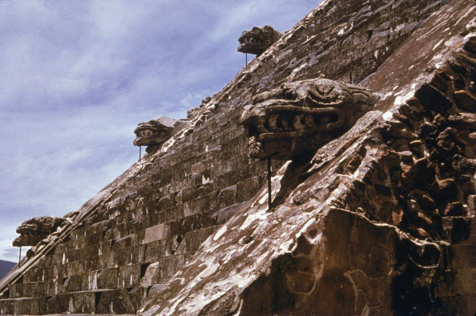 The outside of the Temple of the Feathered Serpent is seen in Mexico, 30 miles outside Mexico City.