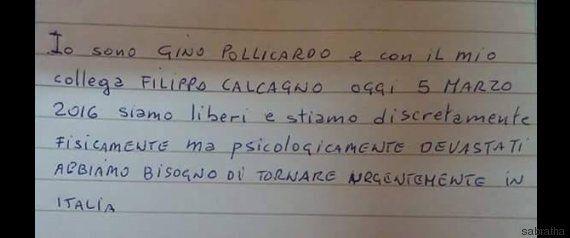 Libia, Gino Pollicardo e Filippo Calcagno liberi. Il biglietto della speranza: